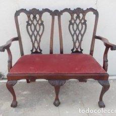 Antigüedades: BANCO CHIPENDALE EN MADERA NOBLE. Lote 197085766