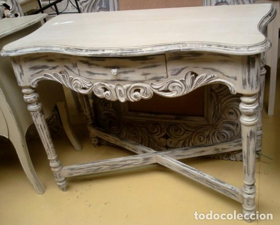 CONSOLA TALLADA EN BLANCO Y DESGASTES (Antigüedades - Muebles Antiguos - Consolas Antiguas)