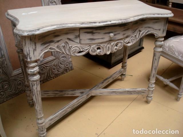 Antigüedades: Consola tallada en blanco y desgastes - Foto 2 - 197093633