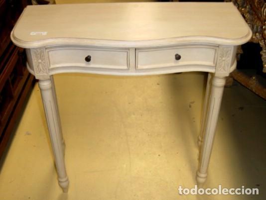Antigüedades: Consolita blanca con 2 cajones pata torneada - Foto 2 - 197094003