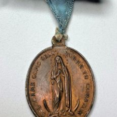 Antigüedades: ANTIGUA MEDALLA RELIGIOSA CON CINTA CELESTE . Lote 197095091