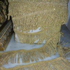 Antigüedades: 10 METROS Y 5,6 CM DE ANCHO PRECIOSO FLECO DORADO IDEAL MANTO VIRGEN SEMANA SANTA . Lote 197118925