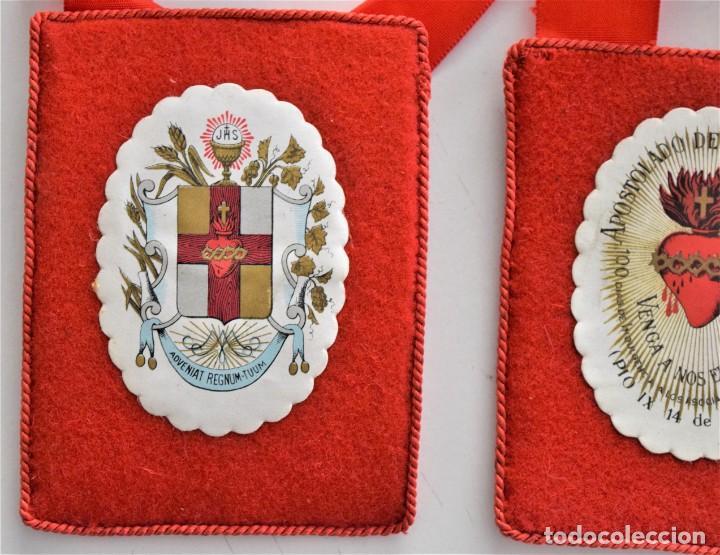 Antigüedades: ESCAPULARIO DOBLE APOSTOLADO DE LA ORACIÓN - PIO IX 14 DE JULIO DE 1877 - COMO NUEVO - Foto 3 - 197127591