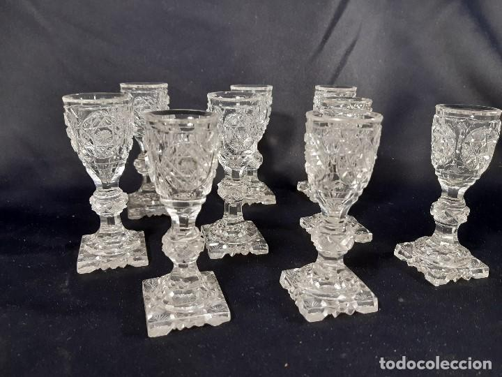 Antigüedades: 9 copas. Cristal tallado. Baccarat. Siglo XIX-XX. - Foto 4 - 197138061