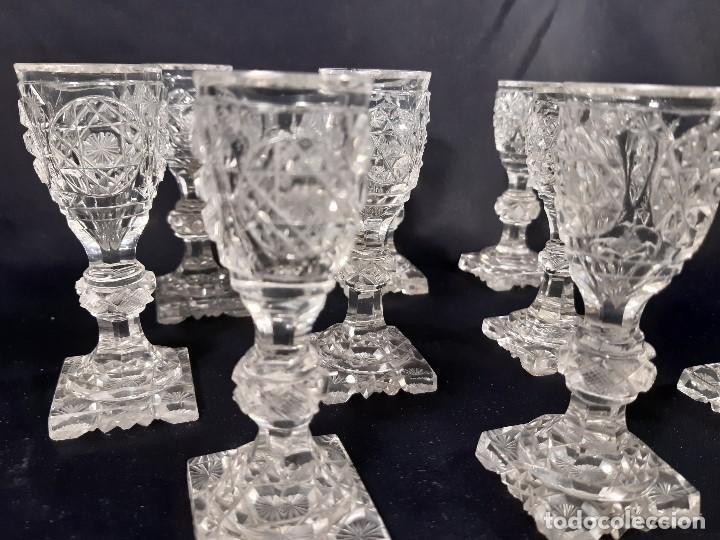 Antigüedades: 9 copas. Cristal tallado. Baccarat. Siglo XIX-XX. - Foto 5 - 197138061