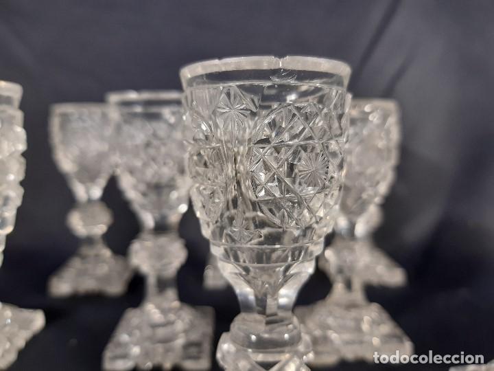 Antigüedades: 9 copas. Cristal tallado. Baccarat. Siglo XIX-XX. - Foto 11 - 197138061