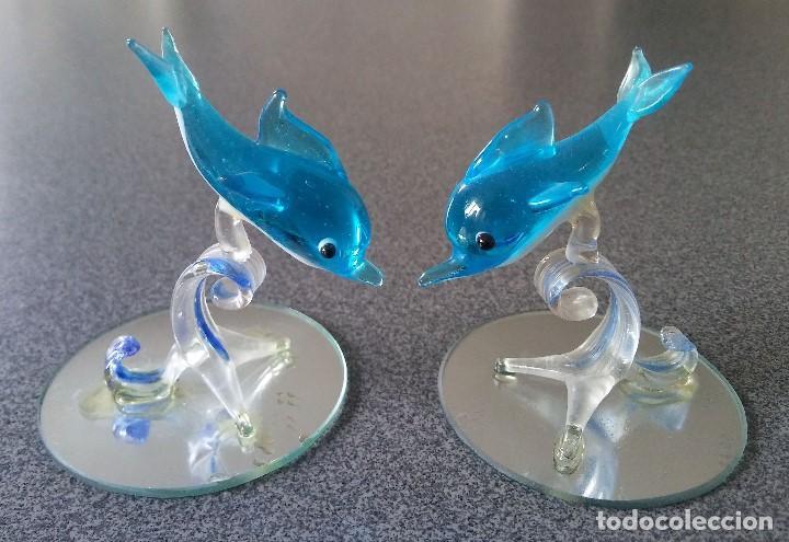 Antigüedades: Lote figuras delfines peces cristal murano - Foto 2 - 197186281