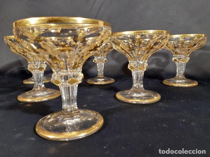 Antigüedades: 6 Copas de champagne cava. Cristal de la Granja o Baccarat. Dorado. Siglo XIX. - Foto 3 - 197208826