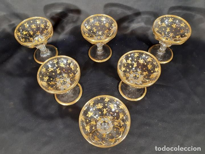 Antigüedades: 6 Copas de champagne cava. Cristal de la Granja o Baccarat. Dorado. Siglo XIX. - Foto 4 - 197208826
