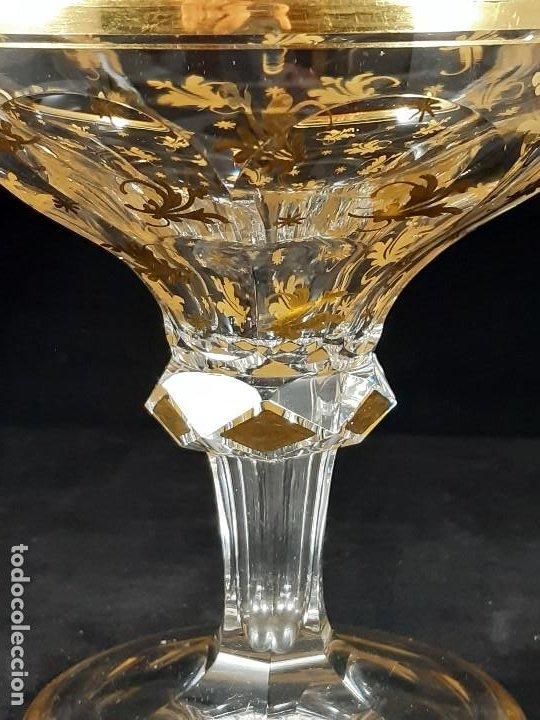 Antigüedades: 6 Copas de champagne cava. Cristal de la Granja o Baccarat. Dorado. Siglo XIX. - Foto 6 - 197208826