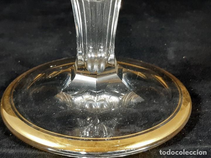 Antigüedades: 6 Copas de champagne cava. Cristal de la Granja o Baccarat. Dorado. Siglo XIX. - Foto 7 - 197208826