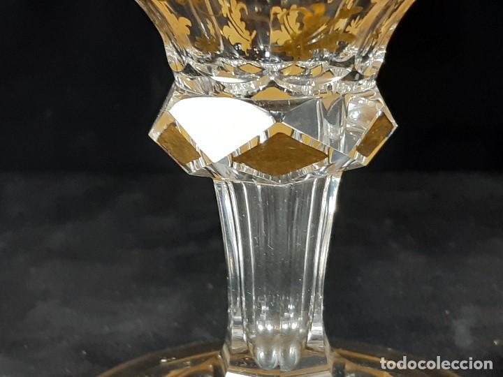 Antigüedades: 6 Copas de champagne cava. Cristal de la Granja o Baccarat. Dorado. Siglo XIX. - Foto 8 - 197208826