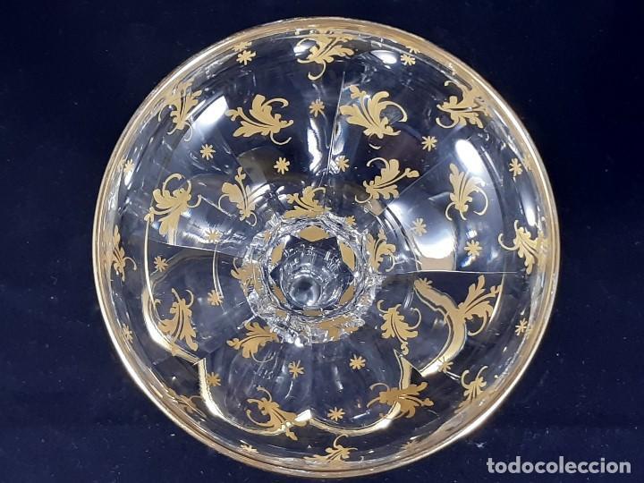 Antigüedades: 6 Copas de champagne cava. Cristal de la Granja o Baccarat. Dorado. Siglo XIX. - Foto 11 - 197208826