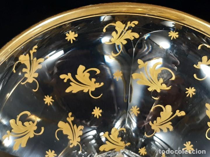 Antigüedades: 6 Copas de champagne cava. Cristal de la Granja o Baccarat. Dorado. Siglo XIX. - Foto 12 - 197208826