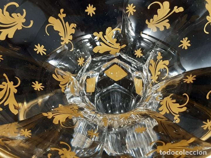 Antigüedades: 6 Copas de champagne cava. Cristal de la Granja o Baccarat. Dorado. Siglo XIX. - Foto 13 - 197208826