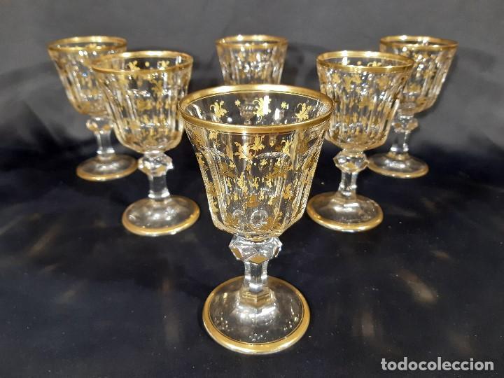 6 COPAS GRANDES. CRISTAL DE LA GRANJA O BACCARAT. DORADO. SIGLO XIX. (Antigüedades - Cristal y Vidrio - Baccarat )