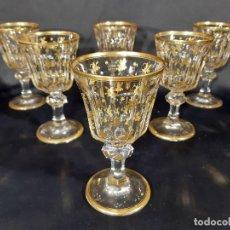 Antigüedades: 6 COPAS GRANDES. CRISTAL DE LA GRANJA O BACCARAT. DORADO. SIGLO XIX.. Lote 197209156