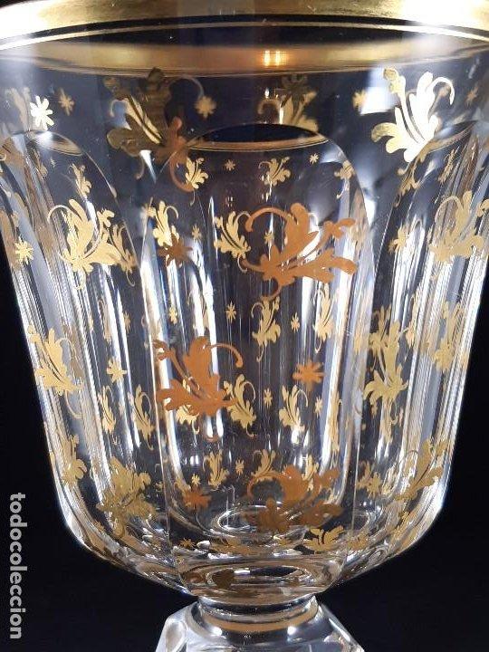 Antigüedades: 6 Copas grandes. Cristal de la Granja o Baccarat. Dorado. Siglo XIX. - Foto 7 - 197209156
