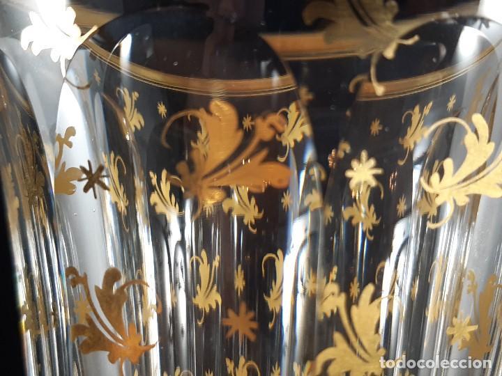 Antigüedades: 6 Copas grandes. Cristal de la Granja o Baccarat. Dorado. Siglo XIX. - Foto 8 - 197209156