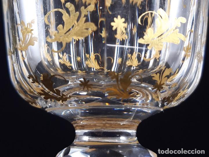 Antigüedades: 6 Copas grandes. Cristal de la Granja o Baccarat. Dorado. Siglo XIX. - Foto 9 - 197209156