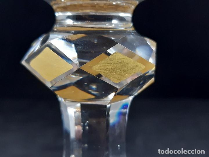 Antigüedades: 6 Copas grandes. Cristal de la Granja o Baccarat. Dorado. Siglo XIX. - Foto 10 - 197209156