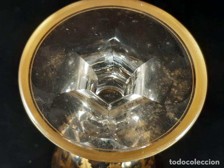 Antigüedades: 6 Copas grandes. Cristal de la Granja o Baccarat. Dorado. Siglo XIX. - Foto 14 - 197209156