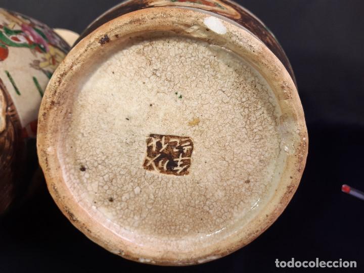 Antigüedades: Pareja jarrones porcelana. Firmados. China. Siglo XIX-XX. - Foto 8 - 197216660