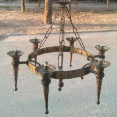 Antigüedades: LAMPARA HIERRO FORJADO EN ACABADO DORADO . Lote 197254381