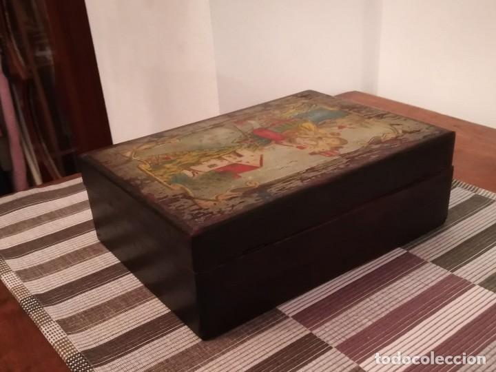 Antigüedades: Caja de madera pintada a mano de finales del SXIX o principios del SXX - Foto 7 - 197284430