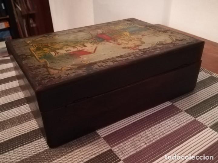 Antigüedades: Caja de madera pintada a mano de finales del SXIX o principios del SXX - Foto 8 - 197284430