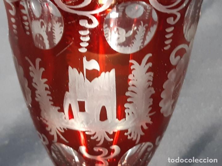 Antigüedades: Jarrón. Tallado y grabado. Bohemia. Siglo XIX. - Foto 9 - 197286670