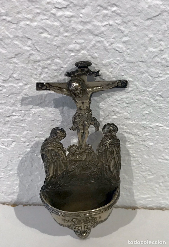 Antigüedades: Benditera de plata del siglo XIX. Escena crucifixión. 245 gr. - Foto 5 - 197293261