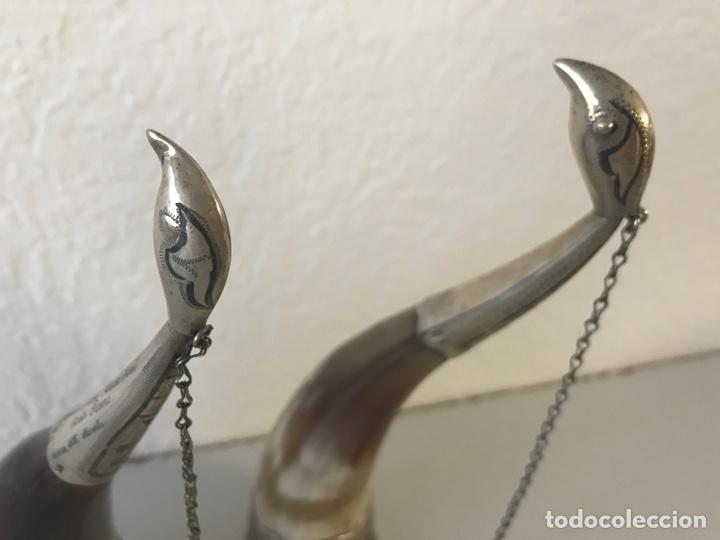 Antigüedades: Pareja de polvoreras de asta y plata. Rusia. Plata convent grabada. Principios Siglo XX - Foto 4 - 197330162
