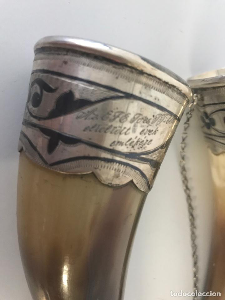 Antigüedades: Pareja de polvoreras de asta y plata. Rusia. Plata convent grabada. Principios Siglo XX - Foto 6 - 197330162
