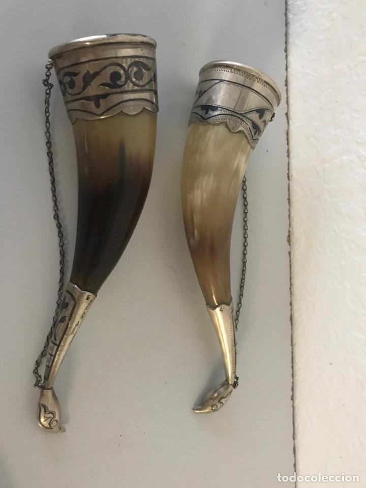 Antigüedades: Pareja de polvoreras de asta y plata. Rusia. Plata convent grabada. Principios Siglo XX - Foto 8 - 197330162