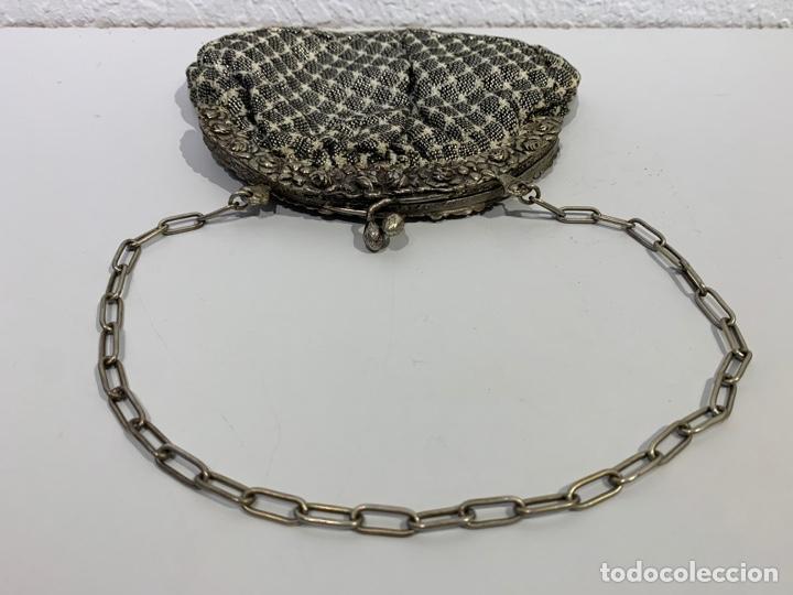Antigüedades: Bolso de principios del siglo XX de plata contrastada y tela con hilo de plata - Foto 4 - 197333370