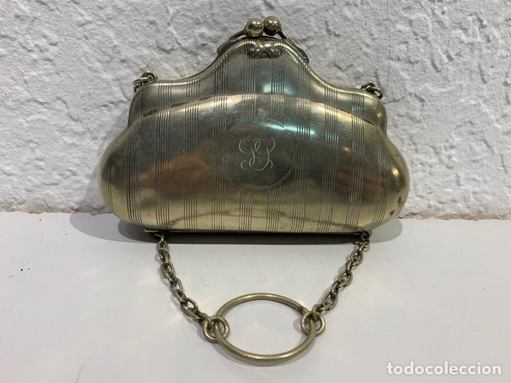 Antigüedades: Monedero en forma de bolso, plata inglesa contrastada. - Foto 2 - 197341607