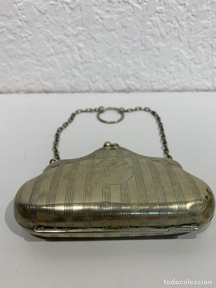 Antigüedades: Monedero en forma de bolso, plata inglesa contrastada. - Foto 4 - 197341607