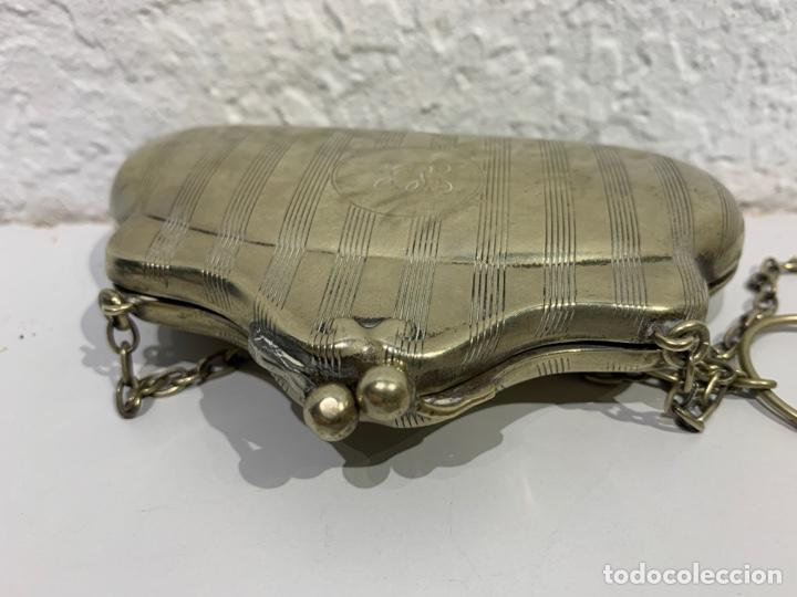 Antigüedades: Monedero en forma de bolso, plata inglesa contrastada. - Foto 5 - 197341607