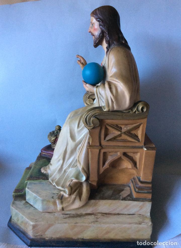 Antigüedades: Antiguo Sagrado corazón realizado en estuco policromado, OLOT - Foto 4 - 197342807