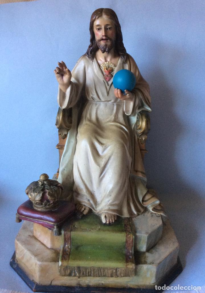 ANTIGUO SAGRADO CORAZÓN REALIZADO EN ESTUCO POLICROMADO, OLOT (Antigüedades - Religiosas - Ornamentos Antiguos)