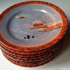 Antigüedades: 6 PLATOS JAPON + 3 DE OFERTA. Lote 197357407