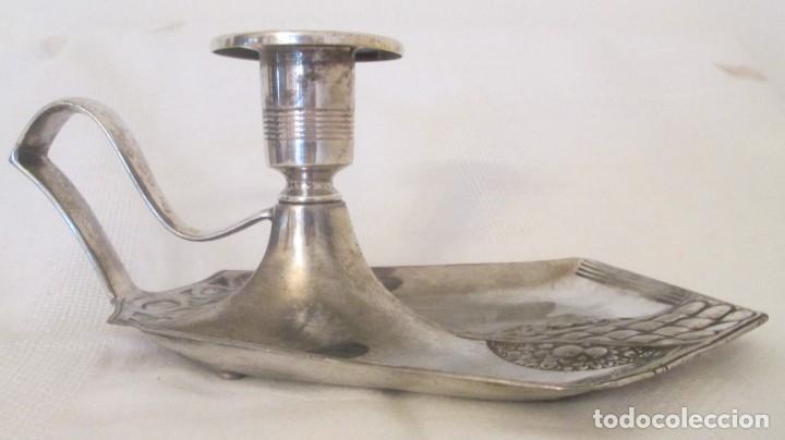 Antigüedades: Antigua palmatoria de la marca WMF, Alemania, en metal plateado con baño de plata. - Foto 2 - 197372805