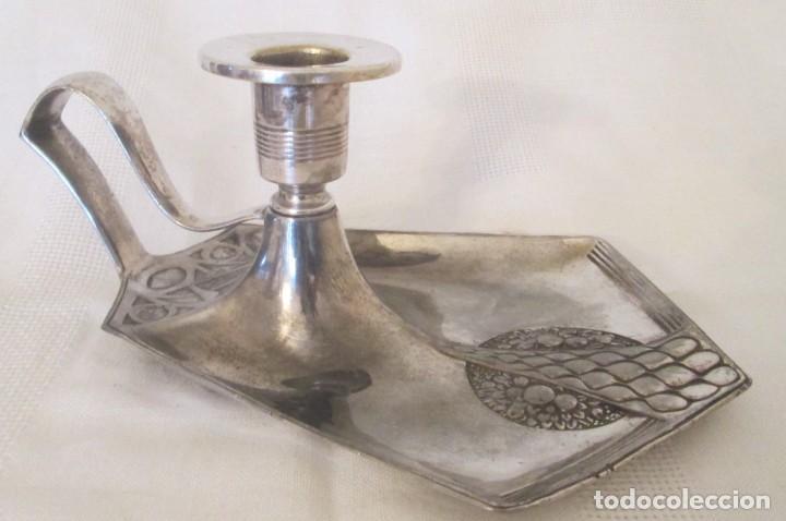Antigüedades: Antigua palmatoria de la marca WMF, Alemania, en metal plateado con baño de plata. - Foto 3 - 197372805