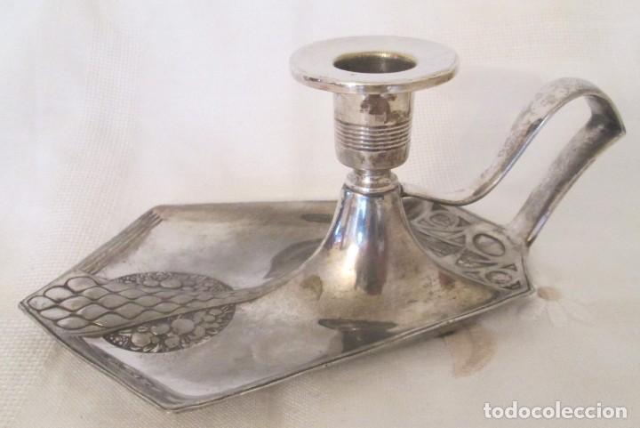 Antigüedades: Antigua palmatoria de la marca WMF, Alemania, en metal plateado con baño de plata. - Foto 5 - 197372805