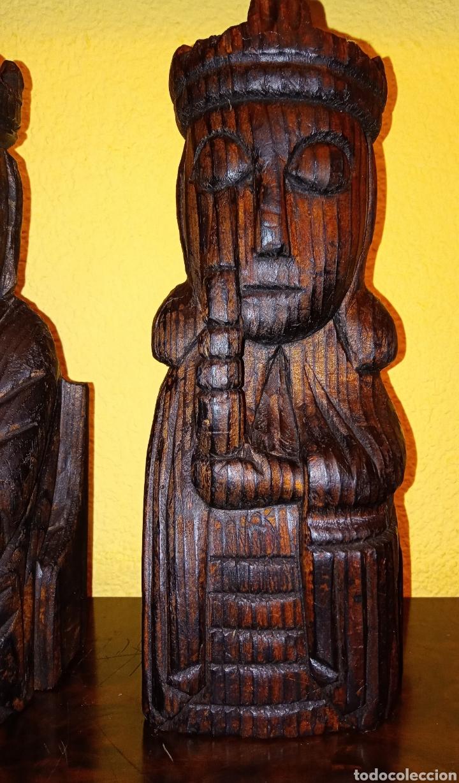 Antigüedades: DOS TALLAS EN MADERA - REY Y REINA - - Foto 3 - 229092230