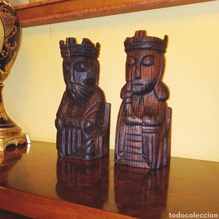 Antigüedades: DOS TALLAS EN MADERA - REY Y REINA - - Foto 4 - 229092230