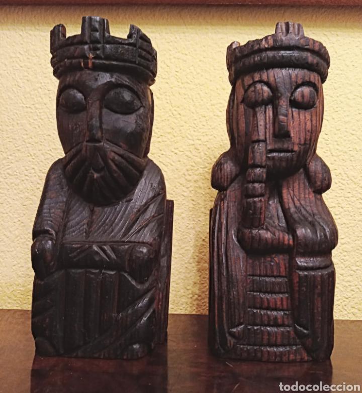 Antigüedades: DOS TALLAS EN MADERA - REY Y REINA - - Foto 5 - 229092230