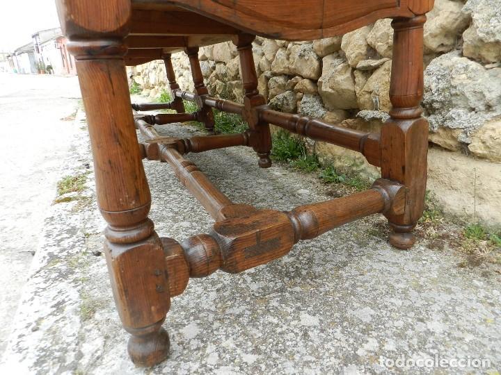 Antigüedades: IMPRESIONANTE ASIENTO TRESILLO EN MADERA Y CUERO SIGLO XVIII - Foto 18 - 197476465