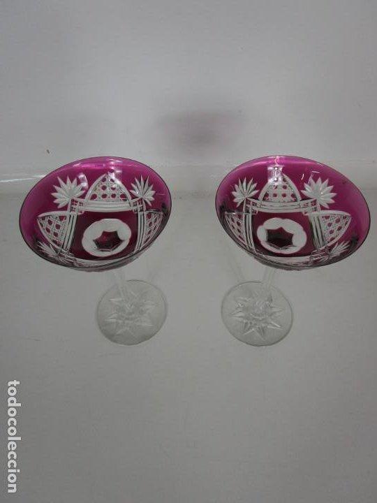 Antigüedades: Preciosa Pareja de Copas - Copa de Cristal Tallado - Bohemia - Foto 2 - 197510542